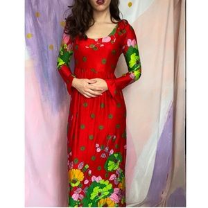 VINTAGE 1970s Groovy Red Satin Floral Maxi Dress